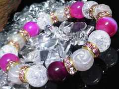 クラック水晶ピンクアゲートバラ彫りローズクォーツ10ミリ