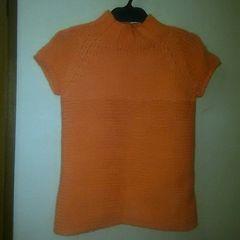 USED美品★ボトルネック袖無セーター/オレンジ