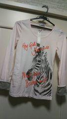 新品タグ付きM アニマル柄長袖ピンクカットソーTシャツグレー