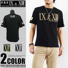 メール便送料無料【G.H.R NINE&THIRTEEN】70727Tシャツ黒金XL