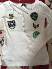 かっこいいアップリケ付き長袖カットソー☆Tシャツ☆白