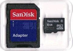 8GB SanDisk クラス4 マイクロSDHC(microSD)+アダプター【定形外送料無料