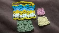 手編みのミニバック、4点