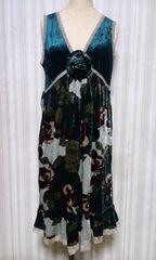 PENNS NECK・ペンズネックレースバラ花柄ベロアタンクワンピース&コサージュ付緑 M