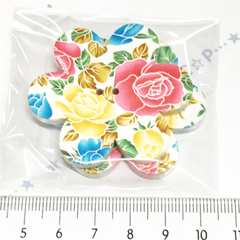 1*�@スタ*大きなお花型ウッドボタン2個*パステル薔薇*37