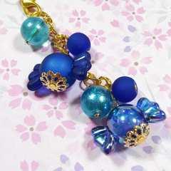 【handmade】キャンディー*strap*blue