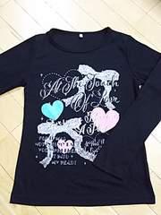 激可愛プリントTシャツ☆ブラック 160 長袖