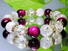 ピンクタイガーアイ&クラック水晶10ミリ金色ロンデル天然石