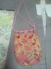 ☆新品ピンク×牡丹花車短冊和柄信玄巾着袋リバーシブル