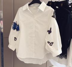 レディースシャツ ブラウス 刺繍 白シャツ 七分袖 S~3XL/AK283