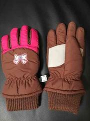 送料無料☆リボン防水手袋スキースノーグローブキッズ5-6歳美品