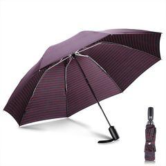 折りたたみ傘 ワンタッチ 晴雨兼用 ポーチ付き (ストライプ)