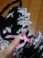 新品★H80「ロリアンミル黒地に刺繍綺麗なブラジャー」定価5000