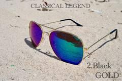 サングラス ティアドロップ UV400 メガネ 紫外線カット ブルー