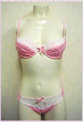 ★水玉柄♪ブラ&ショーツセット B75 (ピンク)