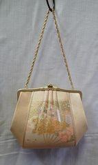 豪華◆着物バッグ/孔雀・扇子柄 六角形型バッグ ゴールド�C