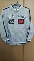 TONY HAWK フルジップトレーナー◇灰色紺白ライン 130cm