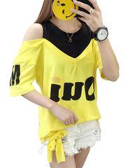オフショルダー ゆったりTシャツ(2XL寸・黄)
