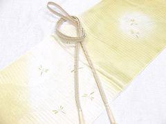 夏用 クリームイエロー  正絹 帯締め・帯揚げ 新品