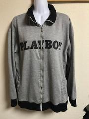 ★PLAYBOY グレー×黒プリント ブルゾン  XL★