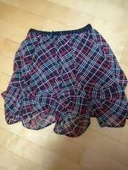 チェック バルーン スカート 赤
