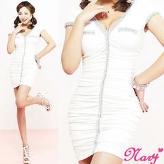 新品9号■パステル刺繍フリンジトリミングVカットネックタイトミニギャザーキャバワンピドレス