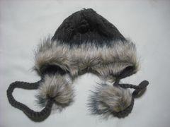 wb309 女 BILLABONG ビラボン 耳当て付き ファー ニット帽