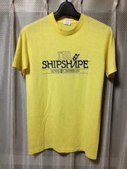 アメリカ製 古着ヴィンテージ プリント半袖Tシャツ Sサイズ 細身タイト 黄色 ユーズド