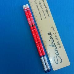新品♪王冠に水玉模様が可愛い赤鉛筆2本セット♪日本製♪美品