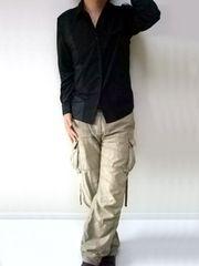 トレンチデザインシャツMブラック黒black新品※2点送料無料