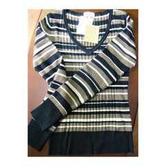 新品 ニット長袖セーター Sサイズ ボーダー 1