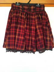 axes femme チェック 裾レース スカート M N2m