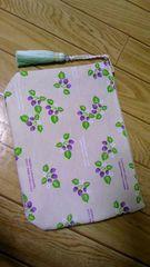 ◆ハンドメイド◆紫苺柄◆タッセル付き◆ファスナーポーチ◆送料込み