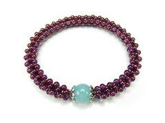 石街紫ガーネットアマゾナイト天然石手編みブレスレット
