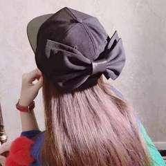 レディ—ス 帽子 キャップ 後ろリボン 黒 かわいい オシャレ