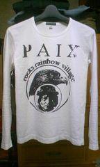 オゾンロックス プリント 長袖Tシャツ・ロンT Sサイズ・細身タイト 白色×黒色 日本製