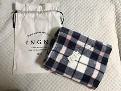 新品INGNIイング ふわふわチェックブランケット紺×ピンク×白
