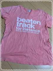 オレンジピンク/ロゴ半袖Tシャツ/Lサイズ