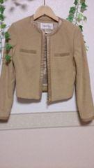 Pinky&Dianne 羊毛アンゴラ* ノーカラージャケット*ベージュ