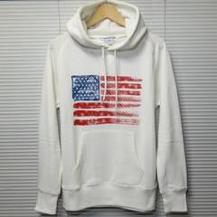 星条旗USAスウェットプルパーカー アメリカ/WHITE/L