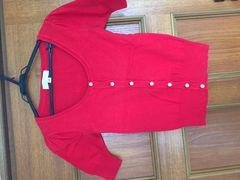 ジルスチュアート 赤 半袖 カーディガン