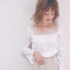 Omekashi★デコルテレースが素敵なホワイトカットソー/新品♪