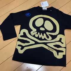 新品 ドクロ スカル 長袖Tシャツ ロンT ネイビー 100 刺繍
