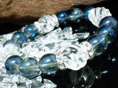 青水晶12ミリ§トルネード水晶14ミリ§銀ロンデル数珠