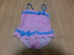 【新品タグ付】カワイイ♪水着90�pピンク☆ストライプ柄