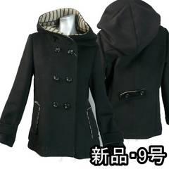 ≪新品♪M≫黒のダブルフェースコート♪フード付き♪i