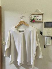 3L未使用V衿七分袖厚地オフホワイトプルオーバー