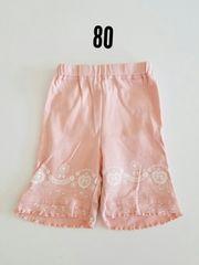ピンクにすそリボン柄の半ズボン