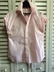 新品 ノースリーブ ピンク 細ストライプ シャツ ブラウス