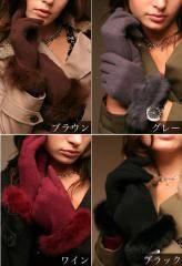 AneCanゴージャス★ふんわりラビットファー手袋ブラウン